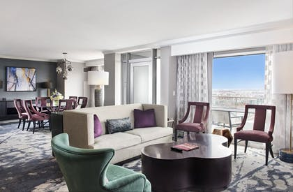 Suite Living Area | 1 Bedroom Balcony Suite With Homeplate View | Hilton Baltimore