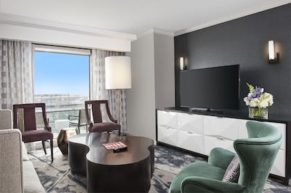 Suite Living Room | 1 Bedroom Balcony Suite With Homeplate View | Hilton Baltimore
