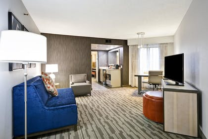 Living Area | 2 Room Corner Suite - 1 King Bed | Embassy Suites by Hilton Charlotte