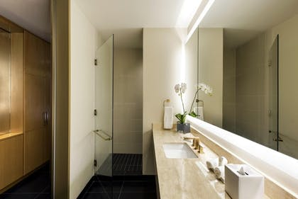 Superior Queen Bathroom | 1 King Suite Mob/Hear Accessible with Roll-in Shower + Superior Room - 2 Queen Beds | Conrad Chicago