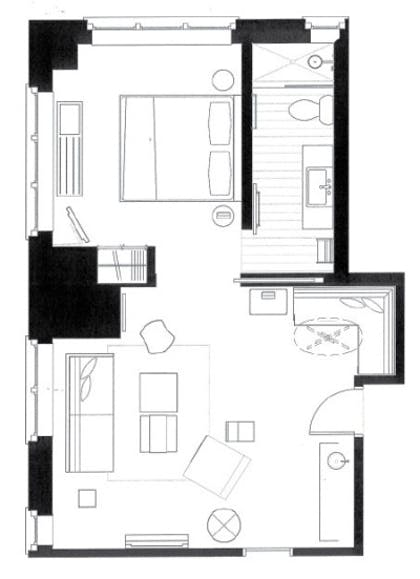 Floor Plan | Apartment King Suite + King Guestroom | The James Chicago