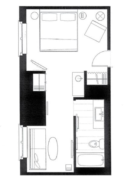 Floor Plan | Studio Queen Suite | The James Chicago