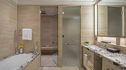 Bathroom | One Bedroom Club Suite + Deluxe Premier King | The Langham Chicago