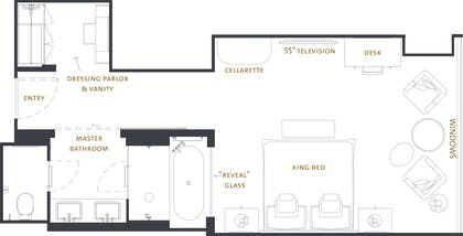 Deluxe Premier Floor Plan | One Bedroom Club Suite + Deluxe Premier King | The Langham Chicago