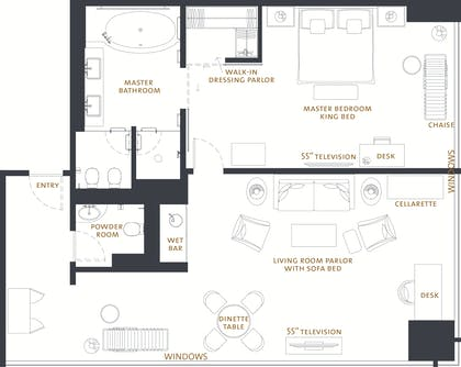 Floorplan | One Bedroom Riverview Suite | The Langham Chicago