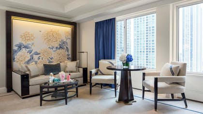 Living Area | Deluxe Suite | King + Grand Premier Double Room | The Peninsula Chicago
