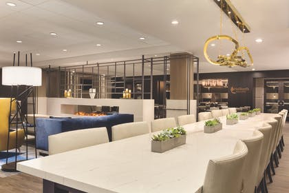 DALEM_Lobby - Seating Area with Fireplace 01 - Print Ready.jpg | Embassy Suites by Hilton Dallas DFW Airport North