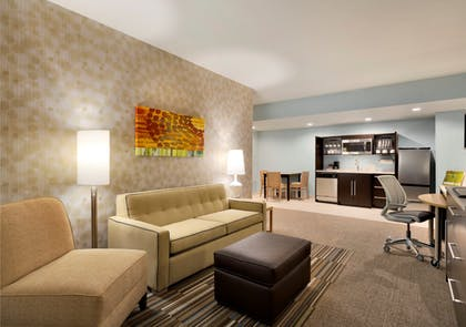 Living Room | 1 King Bed 1 Queen Bed 2 Bedroom 2 Bath Suite | Home2 Suites by Hilton Hasbrouck Heights