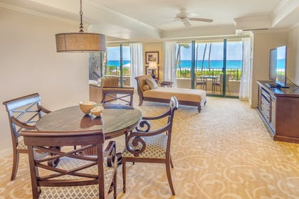 Living Room | Ocean Suite + Deluxe Ocean View Queen Queen | Grand Hyatt Kauai Resort & Spa