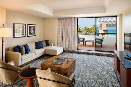 Living Area | 1 Bedroom Royal Suite 1 King Bed - 1 Queen Sofabed | Hilton Waikoloa Village