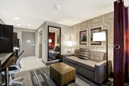 Living Area | 1 King Bed Studio Suite Non-smoking | Home2 Suites by Hilton KCI Airport