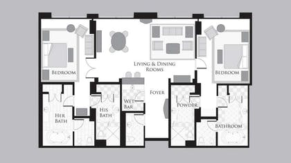 Floorplan | Two Bedroom Penthouse Premier Fountain View Suite | Bellagio