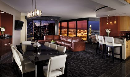 Suite Living   Dining   4 Bedroom 4 Kings Suite with Sofabed   Elara by Hilton Grand Vacations