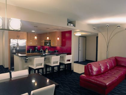 Kitchen Living Room | Corner 2 Bedroom 2 King Suite with Sofabed | Elara by Hilton Grand Vacations