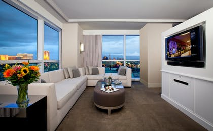 HRH Tower Living Room | HRH Pool View King Suite | Hard Rock Hotel and Casino