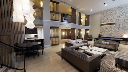 Living Area | Nobu Penthouse +  2 King Rooms + Double Queens Room | Nobu Hotel at Caesars Palace