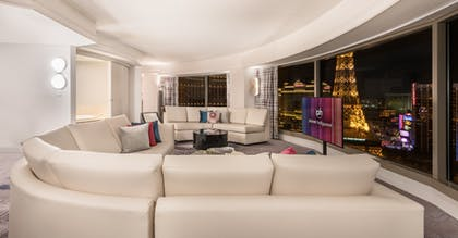 Living Room | Ultra Hip Panorama King Suite + 1 King | Planet Hollywood Resort & Casino