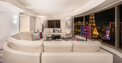 Living Room | Ultra Hip Panorama Queens Suite + 1 King | Planet Hollywood Resort & Casino