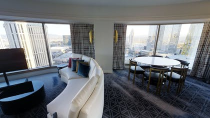 Dining Area | Ultra Hip Panorama King Suite + 2 Queens | Planet Hollywood Resort & Casino