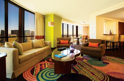 Living Room | Masquerade Suite | Strip View | 1 King + 1 King | Rio All-Suite Hotel & Casino