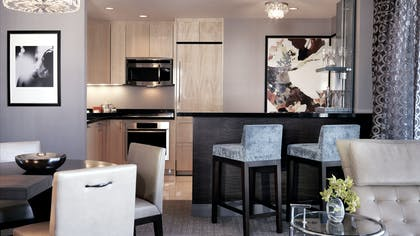 Kitchen / Living Room | Wraparound Fountain View Terrace Suite + Terrace One Bedroom | The Cosmopolitan of Las Vegas