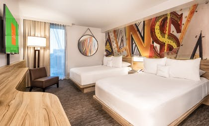 Bedroom | Deluxe Poolside Cabana | 2 Doubles | The LINQ Hotel & Casino