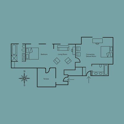 Floorplan | One Bedroom Terrace Suite  | Covent Garden Hotel
