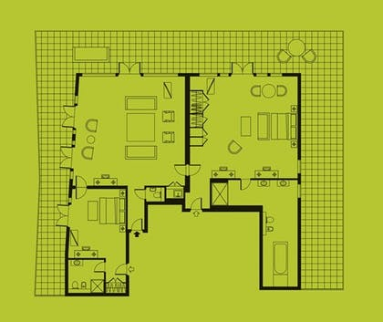 Floorplan | Two Bedroom Terrace Suite  | The Soho Hotel