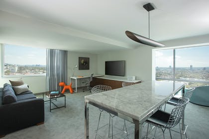 Living Room and Dining Table | Andaz Suite King + View Queens | Andaz West Hollywood