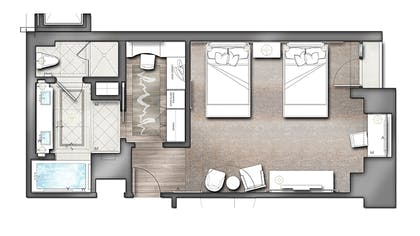 Floorplan | Viceroy Studio Double Suite | L'Ermitage Beverly Hills