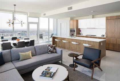 Living room | Deluxe Three Bedroom Suite | LEVEL Furnished Living Suites