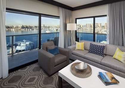 Living Room View | Grand 1-Bedroom Marina Suite | Marina Del Rey Hotel