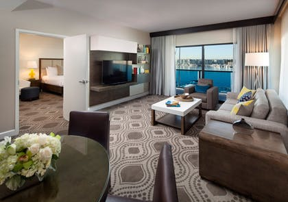 Living Room | Grand 1-Bedroom Marina Suite | Marina Del Rey Hotel
