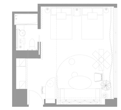 Floorplan | Studio Double Double | Mondrian Los Angeles