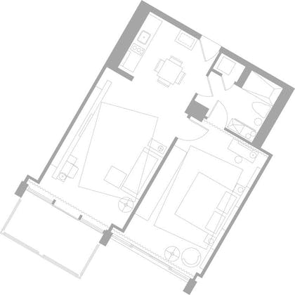 Floorplan | Deluxe Bay-View One Bedroom Suite With Balcony | Mondrian South Beach