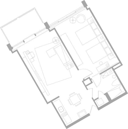 Floorplan | One Bedroom Suite With Balcony Double Double | Mondrian South Beach