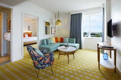 Living Room | Crown Suite | The Confidante Miami Beach