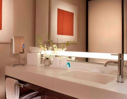 Bathroom 1 | Hudson River View Suite with One King Bed | Conrad New York