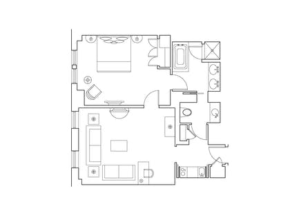 Floorplan | One-Bedroom Suite | Hotel Plaza Athenee