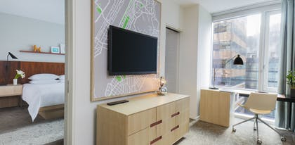 Bedroom | Living Room | Executive Suite + View Two Queens | Hyatt Centric Times Square New York
