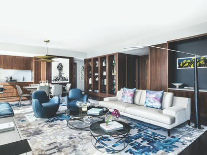 Living Room | Roche Bobois Penthouse Suite + Deluxe Room | The Langham, New York, Fifth Avenue