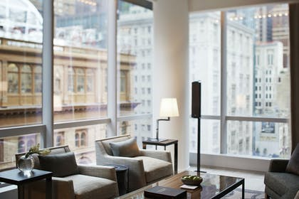 West Side Living Area | One King City View Suite + Two Double City View | Park Hyatt New York