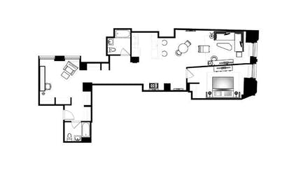 Floor Plan | One Bedroom Apartment with Office | Q & A Residential Hotel