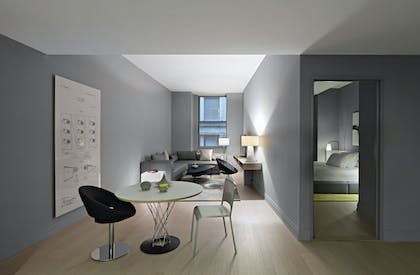 Living Area   One Bedroom Apartment with Office   Q & A Residential Hotel