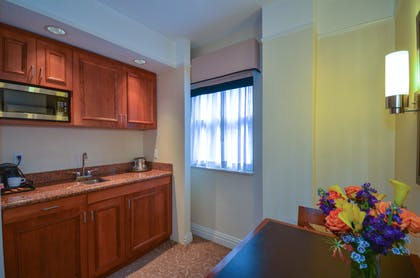 Kitchenette | Elite One Bedroom Suite 2 Queens | San Carlos Hotel