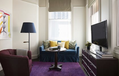 Living Room | Corner Suite | The Beekman, a Thompson Hotel