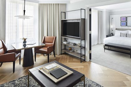 Living Entertainment | 1 King Bed 1 Bedroom Suite | The London NYC