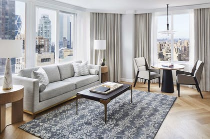 Living Area   1 King Bed Park View 1 Bedroom Suite   The London NYC