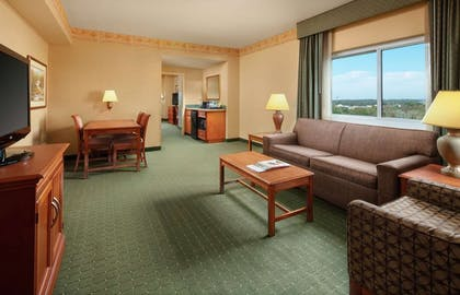 Living Area | 2 Room Corner Suite - 2 Double Beds | Embassy Suites by Hilton Charleston Airport Hotel & Convention Center
