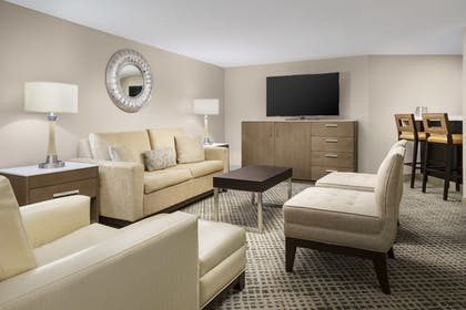 Living Area | 1 King Bed Junior Suite with Sofabed | DoubleTree by Hilton Orlando Airport
